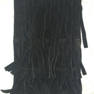 Black Suede fringe purse